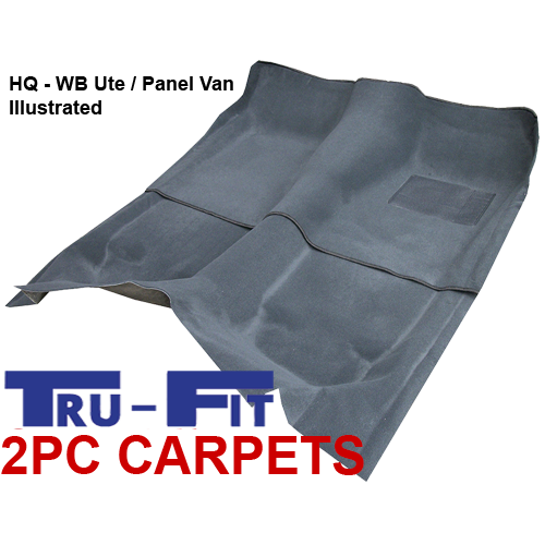 Holden Kingswood Ute / Panel Van HQ, HJ, HX, HZ, WB 2Pc Front & Rear Moulded Carpets in Plush Pile